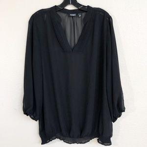 a.n.a. V-neck Smocked Semi-sheer Black Peasant Top